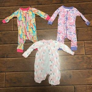 3-6M girl pajamas, giraffes, elephants, floral